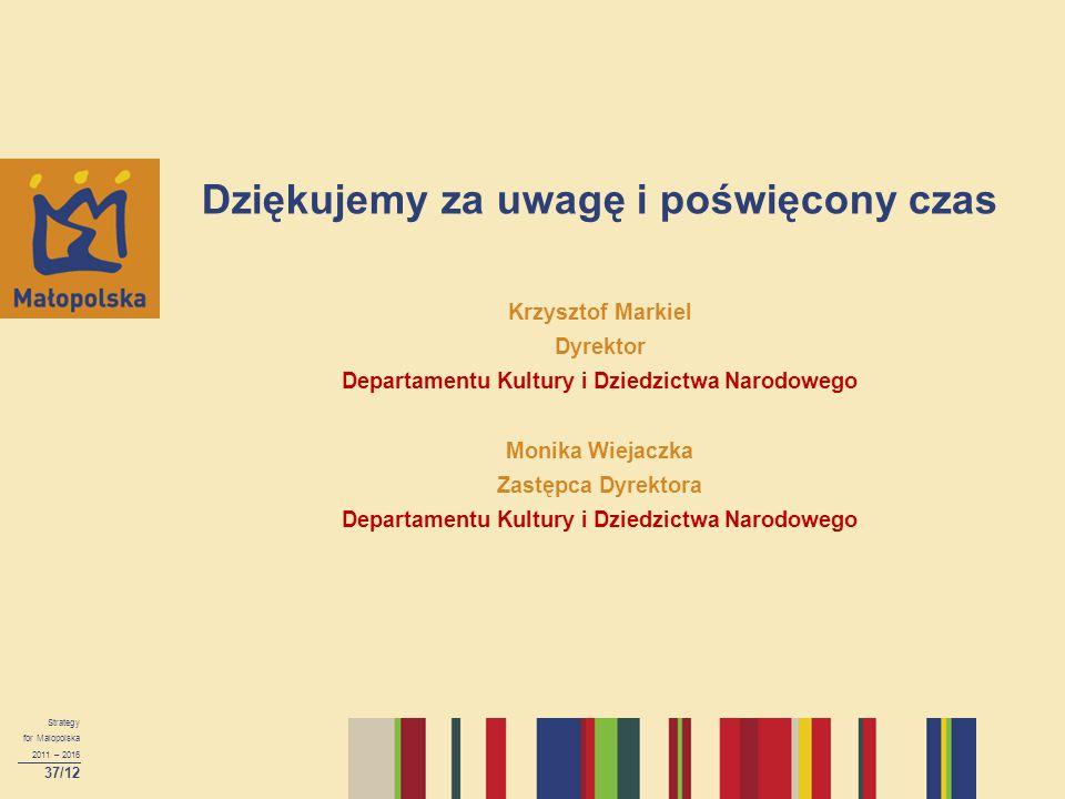Dziękujemy za uwagę i poświęcony czas Krzysztof Markiel Dyrektor Departamentu Kultury i Dziedzictwa Narodowego Monika Wiejaczka Zastępca Dyrektora Departamentu Kultury i Dziedzictwa Narodowego