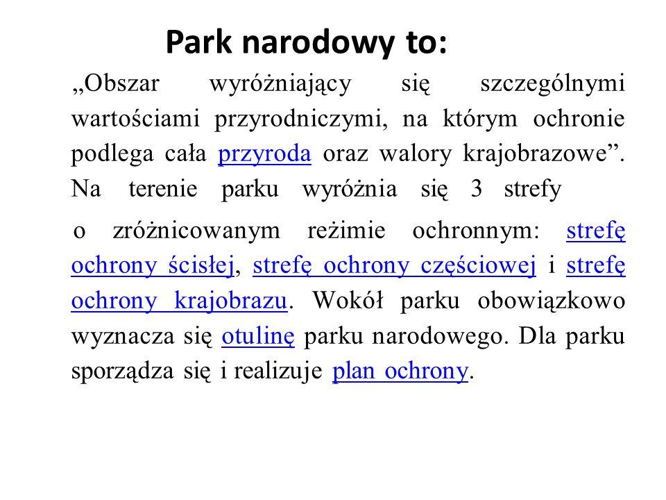 Park narodowy to: