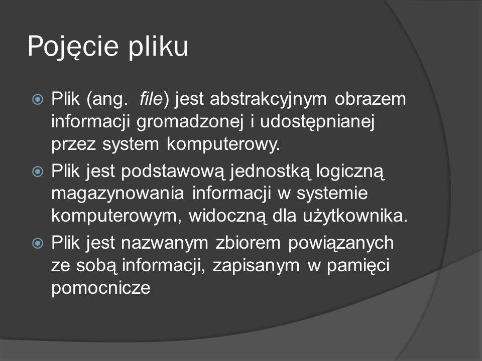 Pojęcie pliku Plik (ang. file) jest abstrakcyjnym obrazem informacji gromadzonej i udostępnianej przez system komputerowy.
