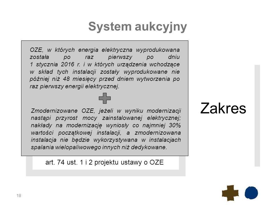 Zakres System aukcyjny art. 74 ust. 1 i 2 projektu ustawy o OZE