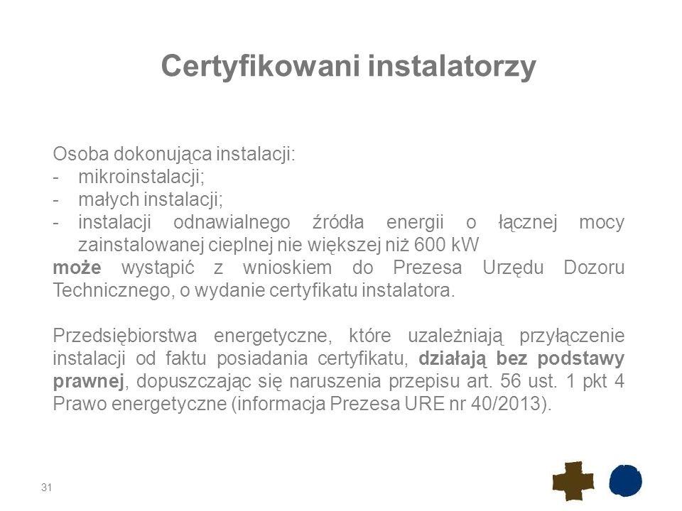 Certyfikowani instalatorzy