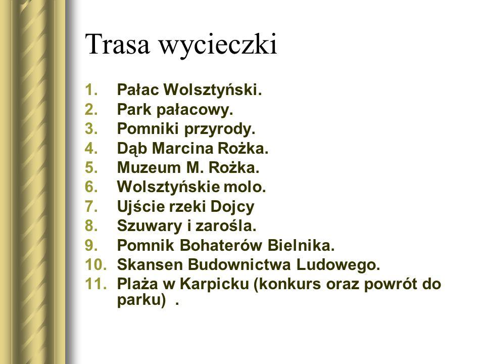 Trasa wycieczki Pałac Wolsztyński. Park pałacowy. Pomniki przyrody.