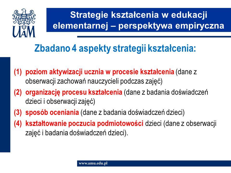 Zbadano 4 aspekty strategii kształcenia: