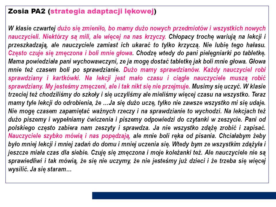 Zosia PA2 (strategia adaptacji lękowej)