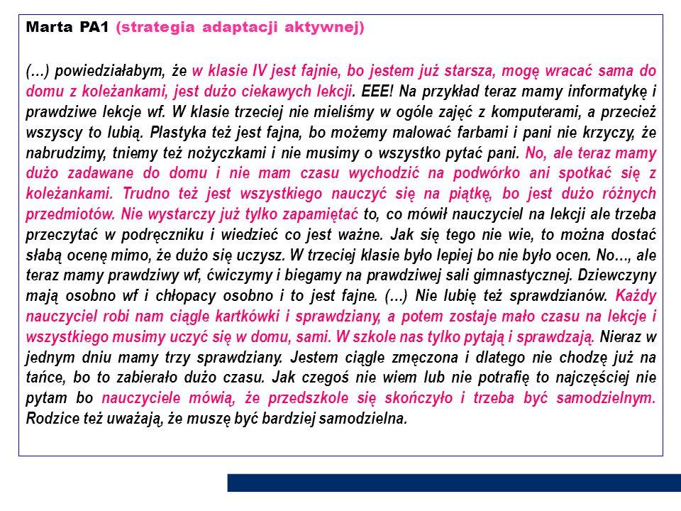 Marta PA1 (strategia adaptacji aktywnej)