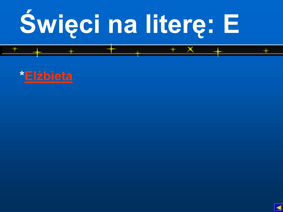 Święci na literę: E *Elżbieta