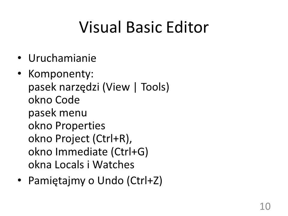 Visual Basic Editor Uruchamianie