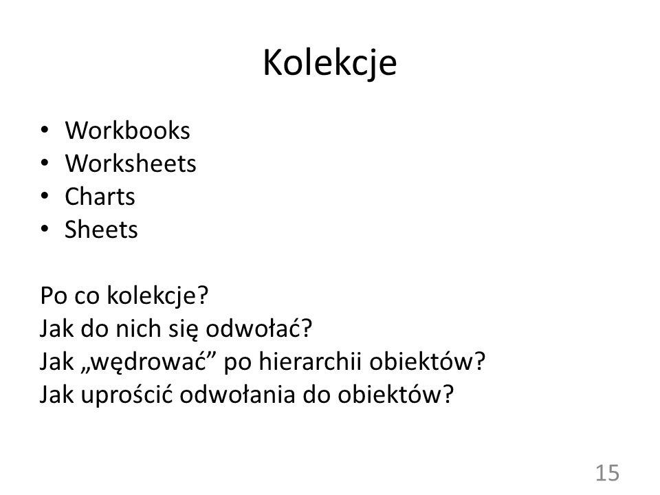 Kolekcje Workbooks Worksheets Charts Sheets Po co kolekcje