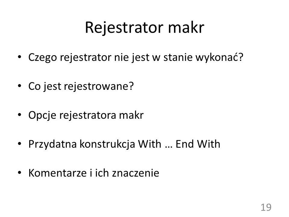 Rejestrator makr Czego rejestrator nie jest w stanie wykonać
