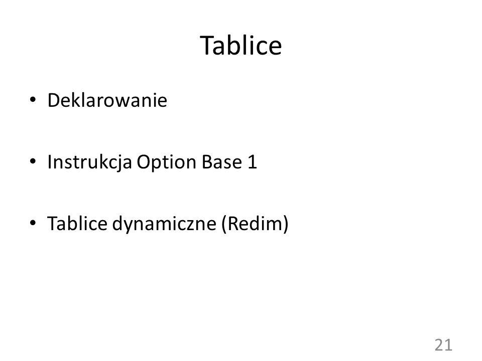 Tablice Deklarowanie Instrukcja Option Base 1