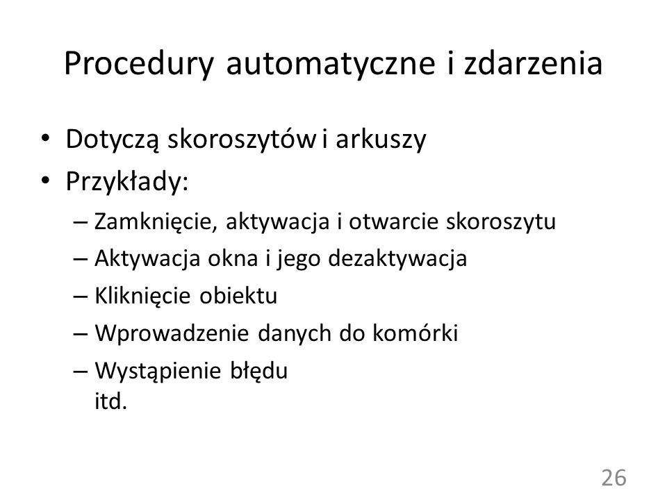 Procedury automatyczne i zdarzenia
