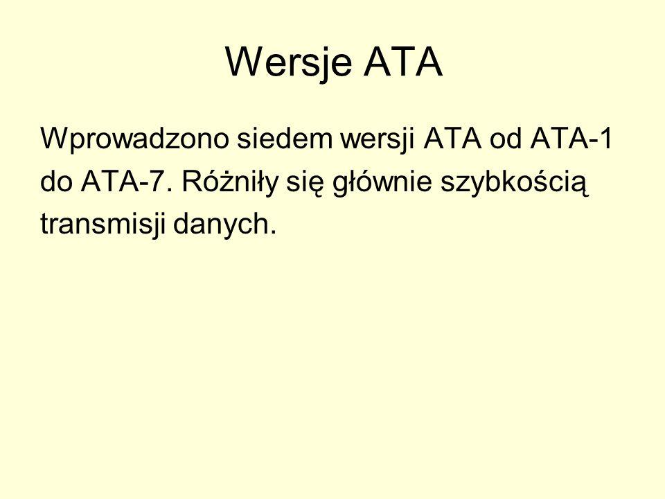 Wersje ATA Wprowadzono siedem wersji ATA od ATA-1