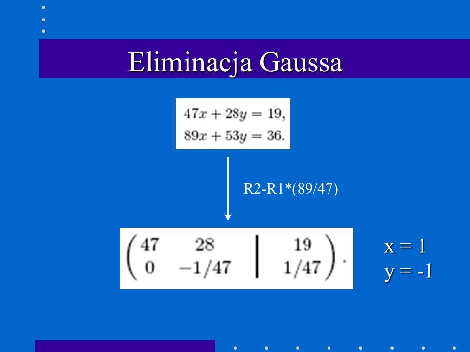 Eliminacja Gaussa R2-R1*(89/47) x = 1 y = -1