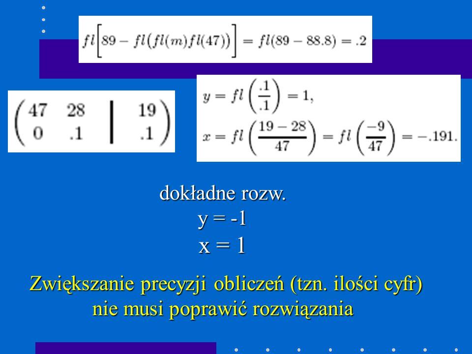 dokładne rozw. y = -1. x = 1. Zwiększanie precyzji obliczeń (tzn.