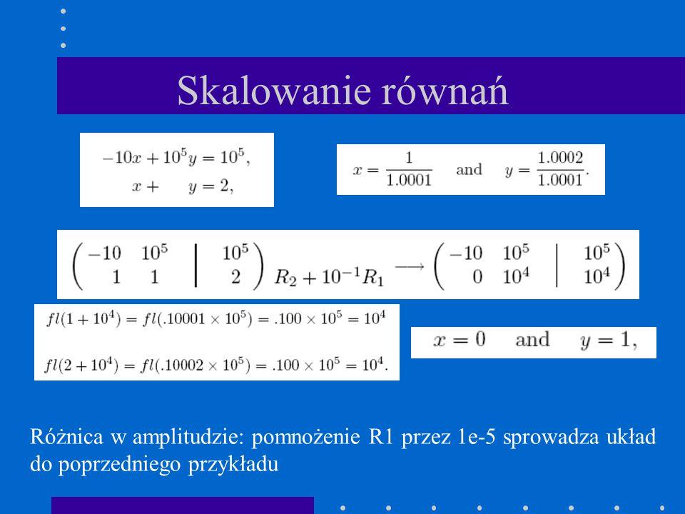Skalowanie równań Różnica w amplitudzie: pomnożenie R1 przez 1e-5 sprowadza układ.