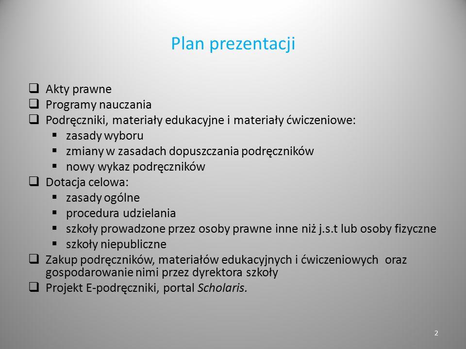 Plan prezentacji Akty prawne Programy nauczania