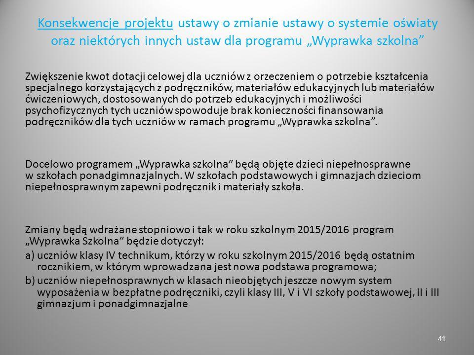 """Konsekwencje projektu ustawy o zmianie ustawy o systemie oświaty oraz niektórych innych ustaw dla programu """"Wyprawka szkolna"""