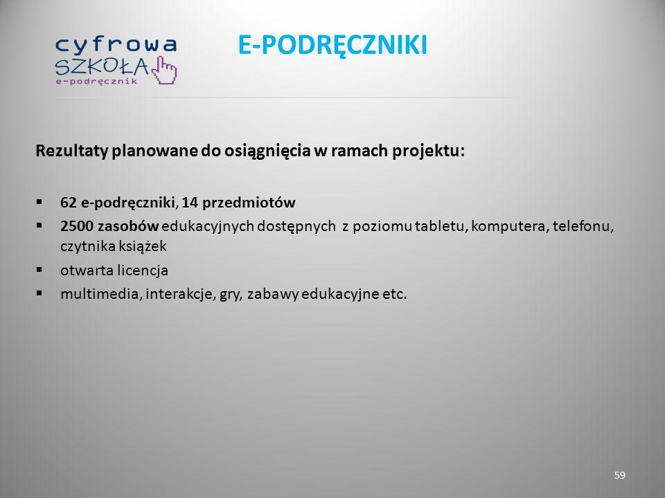 E-PODRĘCZNIKI Rezultaty planowane do osiągnięcia w ramach projektu: