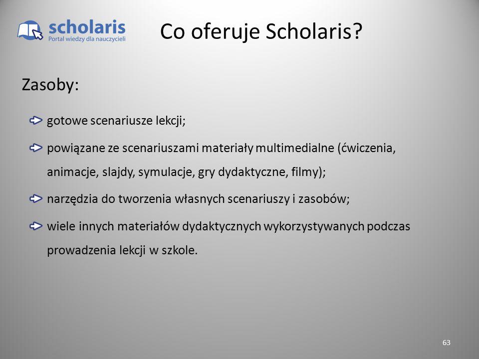 Co oferuje Scholaris Zasoby: gotowe scenariusze lekcji;