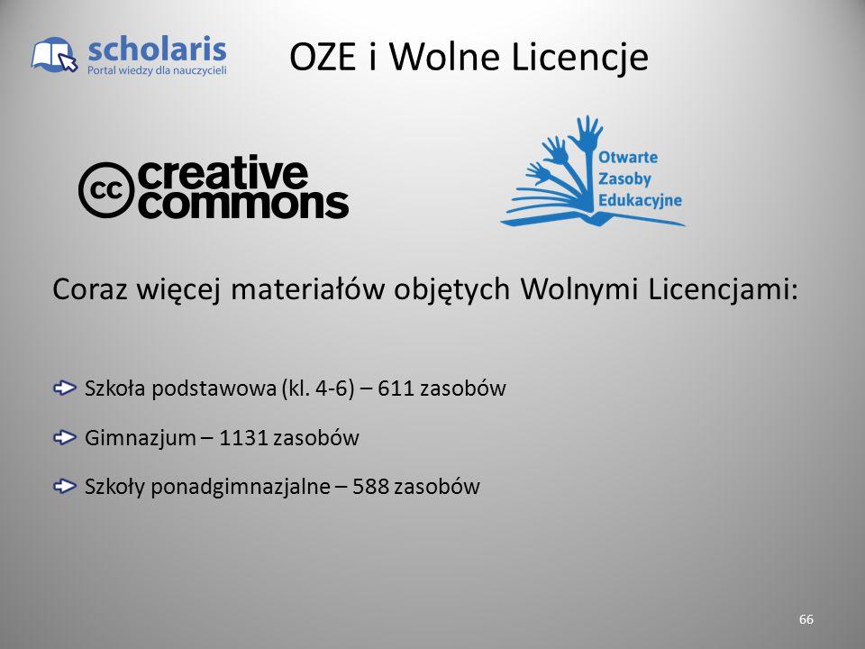 OZE i Wolne Licencje Coraz więcej materiałów objętych Wolnymi Licencjami: Szkoła podstawowa (kl. 4-6) – 611 zasobów.
