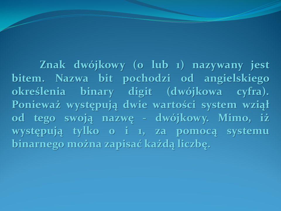 Znak dwójkowy (0 lub 1) nazywany jest bitem