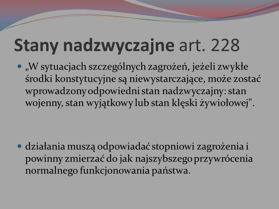 Stany nadzwyczajne art. 228