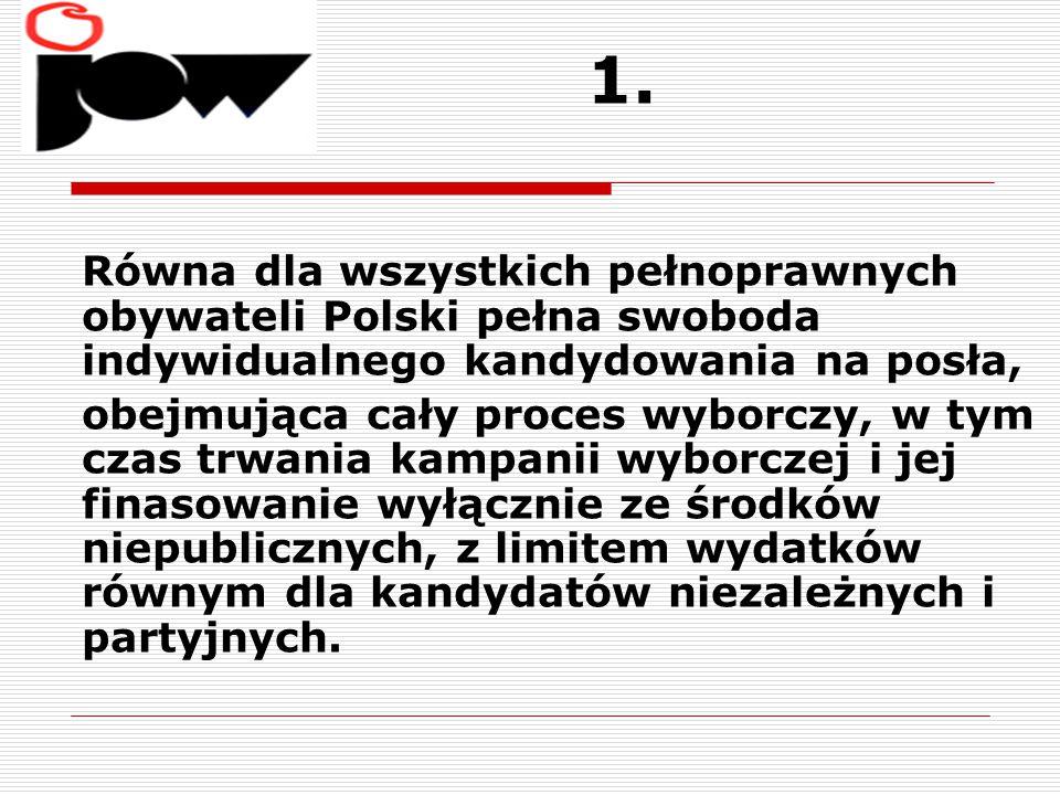 1. Równa dla wszystkich pełnoprawnych obywateli Polski pełna swoboda indywidualnego kandydowania na posła,