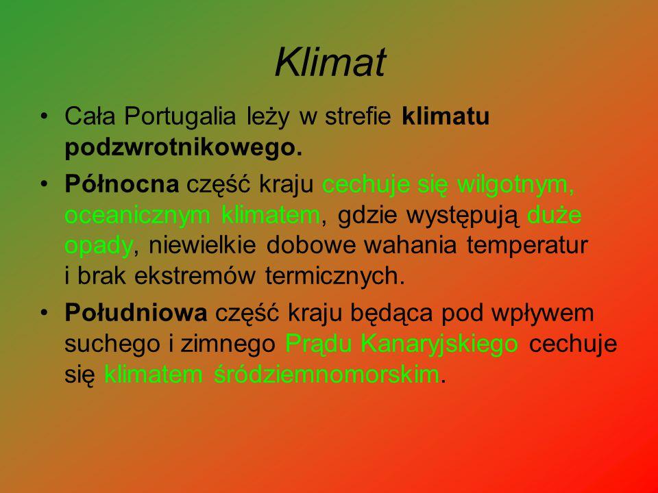Klimat Cała Portugalia leży w strefie klimatu podzwrotnikowego.