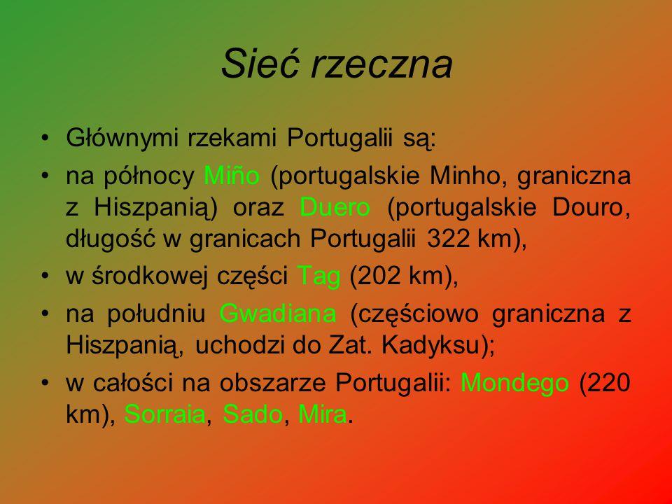Sieć rzeczna Głównymi rzekami Portugalii są: