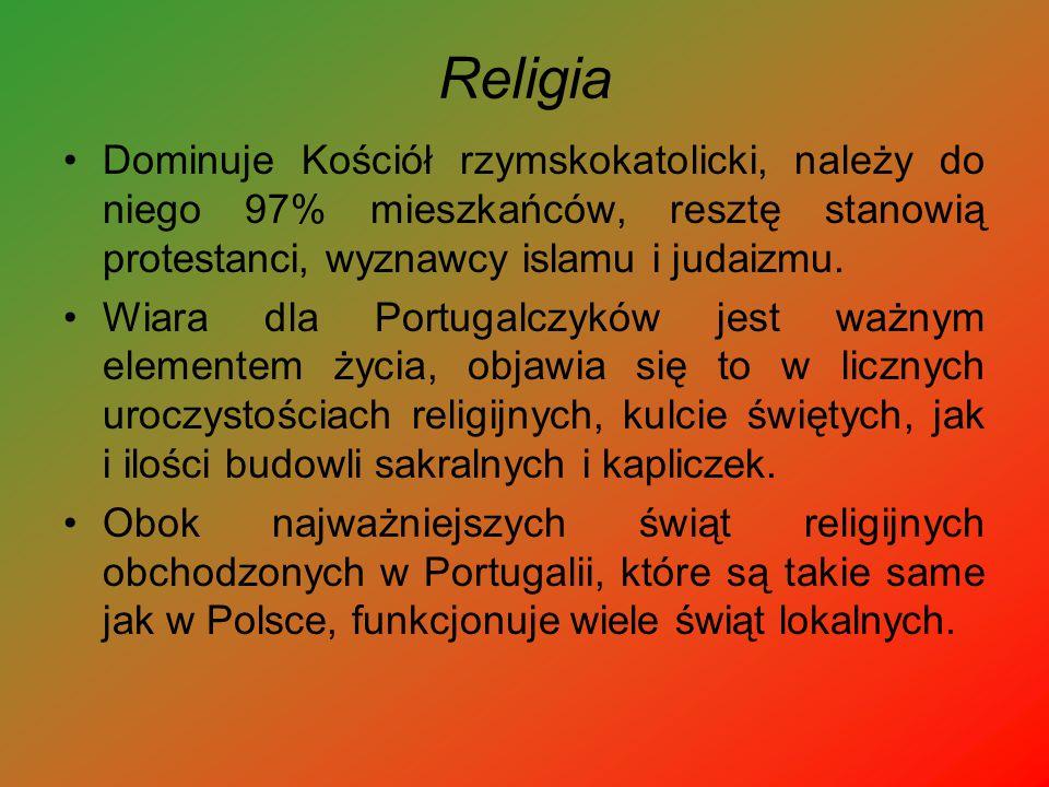 Religia Dominuje Kościół rzymskokatolicki, należy do niego 97% mieszkańców, resztę stanowią protestanci, wyznawcy islamu i judaizmu.
