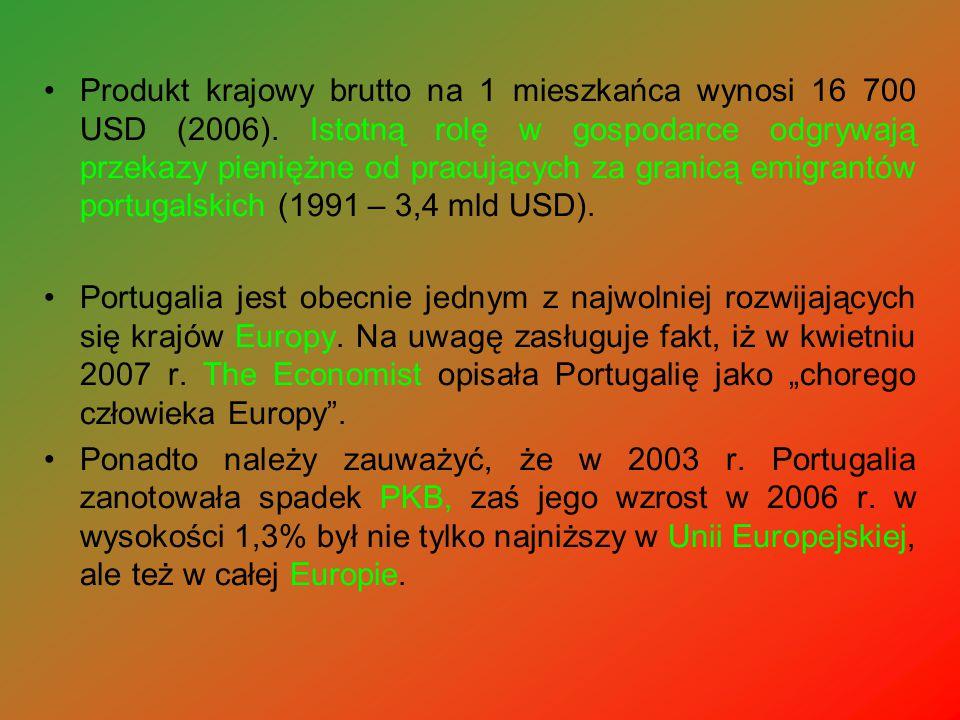 Produkt krajowy brutto na 1 mieszkańca wynosi 16 700 USD (2006)