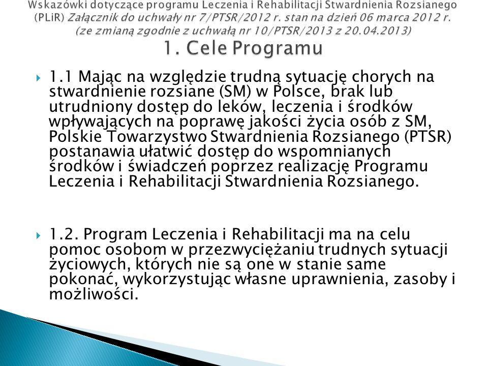 Wskazówki dotyczące programu Leczenia i Rehabilitacji Stwardnienia Rozsianego (PLiR) Załącznik do uchwały nr 7/PTSR/2012 r. stan na dzień 06 marca 2012 r. (ze zmianą zgodnie z uchwałą nr 10/PTSR/2013 z 20.04.2013) 1. Cele Programu