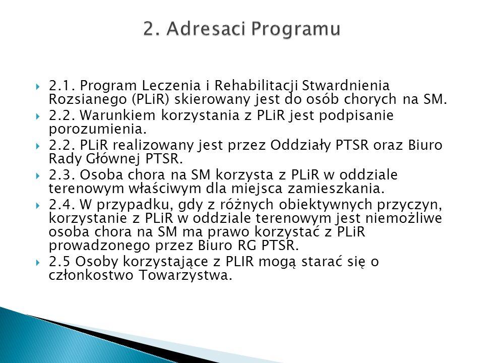2. Adresaci Programu 2.1. Program Leczenia i Rehabilitacji Stwardnienia Rozsianego (PLiR) skierowany jest do osób chorych na SM.