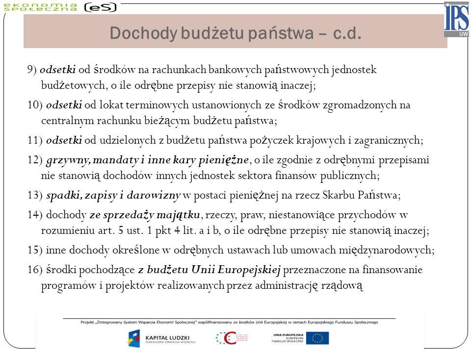 Dochody budżetu państwa – c.d.