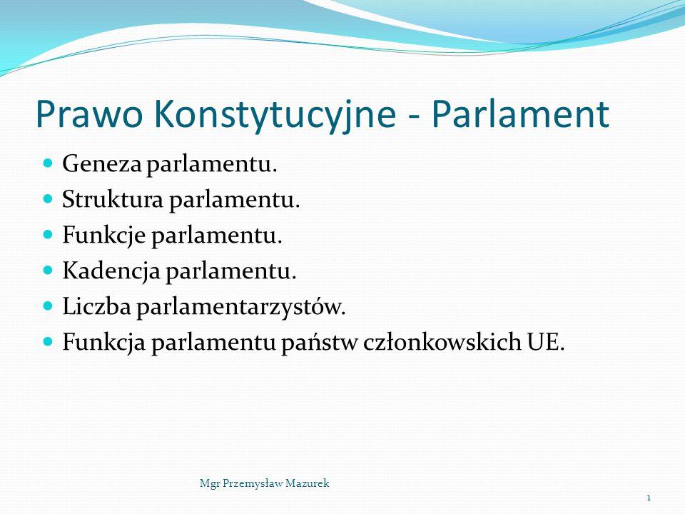 Prawo Konstytucyjne - Parlament