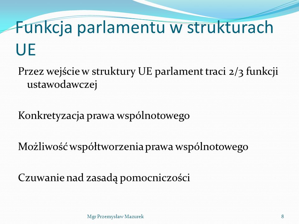 Funkcja parlamentu w strukturach UE