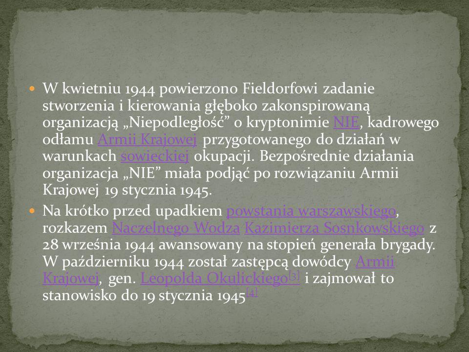 """W kwietniu 1944 powierzono Fieldorfowi zadanie stworzenia i kierowania głęboko zakonspirowaną organizacją """"Niepodległość o kryptonimie NIE, kadrowego odłamu Armii Krajowej przygotowanego do działań w warunkach sowieckiej okupacji. Bezpośrednie działania organizacja """"NIE miała podjąć po rozwiązaniu Armii Krajowej 19 stycznia 1945."""
