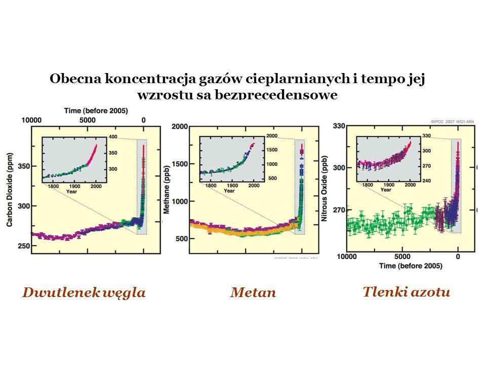 Obecna koncentracja gazów cieplarnianych i tempo jej wzrostu są bezprecedensowe