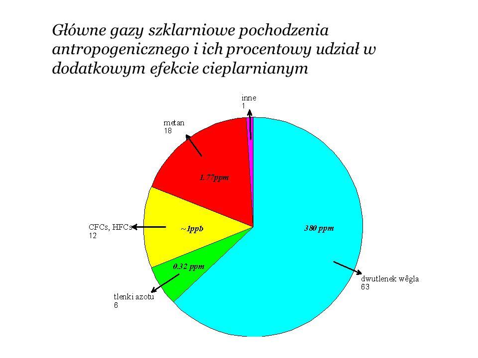 Główne gazy szklarniowe pochodzenia antropogenicznego i ich procentowy udział w dodatkowym efekcie cieplarnianym