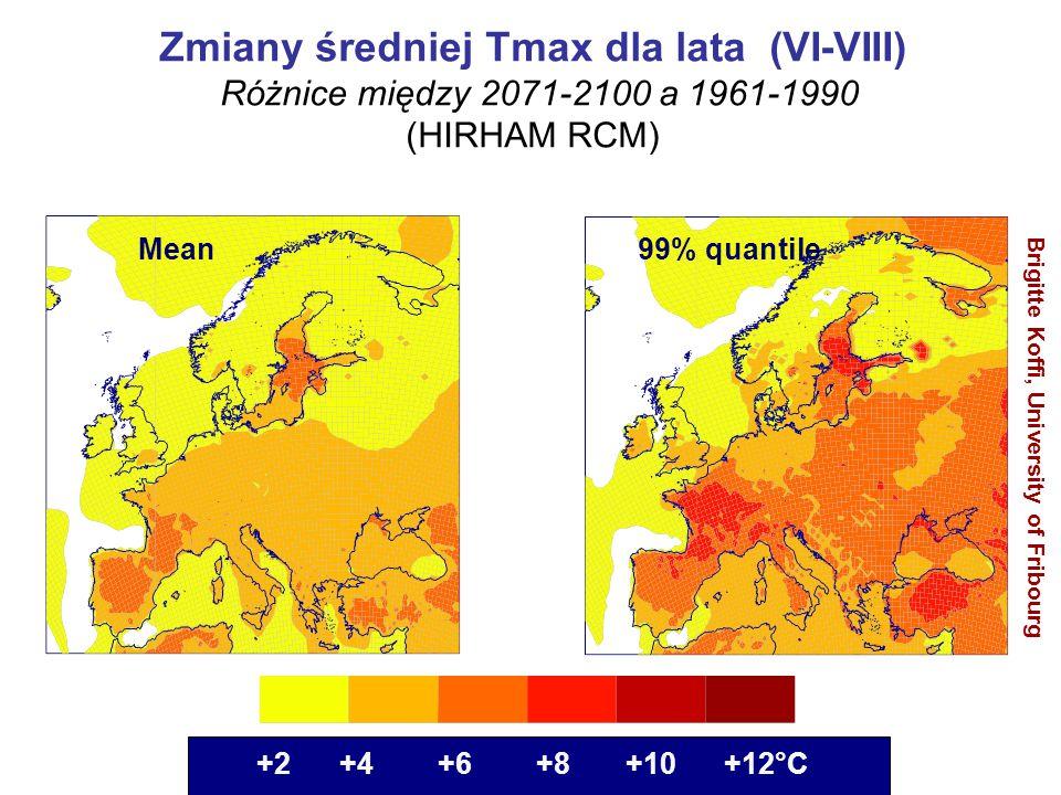 Zmiany średniej Tmax dla lata (VI-VIII)