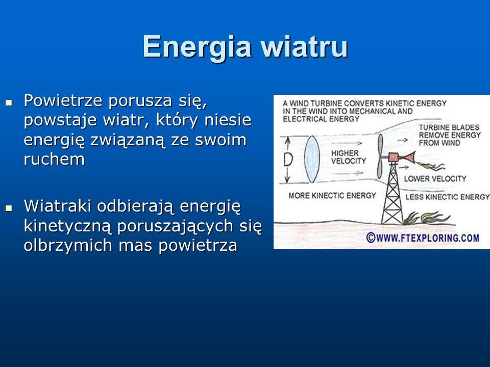 Energia wiatru Powietrze porusza się, powstaje wiatr, który niesie energię związaną ze swoim ruchem.