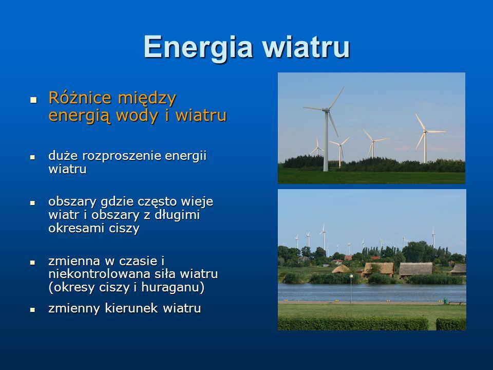 Energia wiatru Różnice między energią wody i wiatru