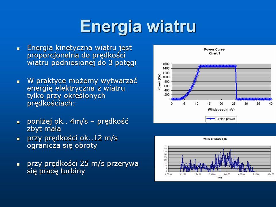 Energia wiatru Energia kinetyczna wiatru jest proporcjonalna do prędkości wiatru podniesionej do 3 potęgi.