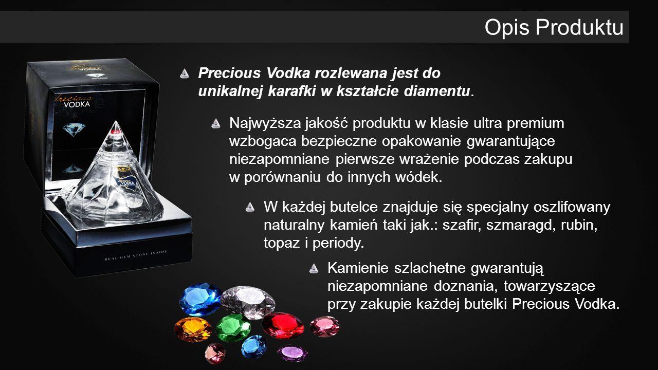 Opis Produktu Precious Vodka rozlewana jest do unikalnej karafki w kształcie diamentu.