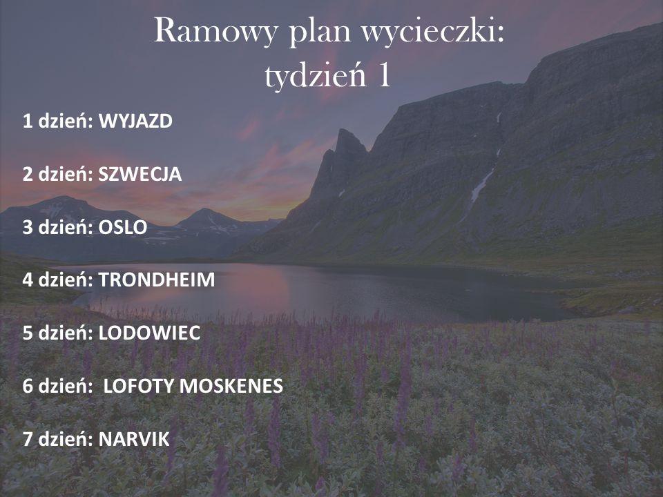Ramowy plan wycieczki: tydzień 1