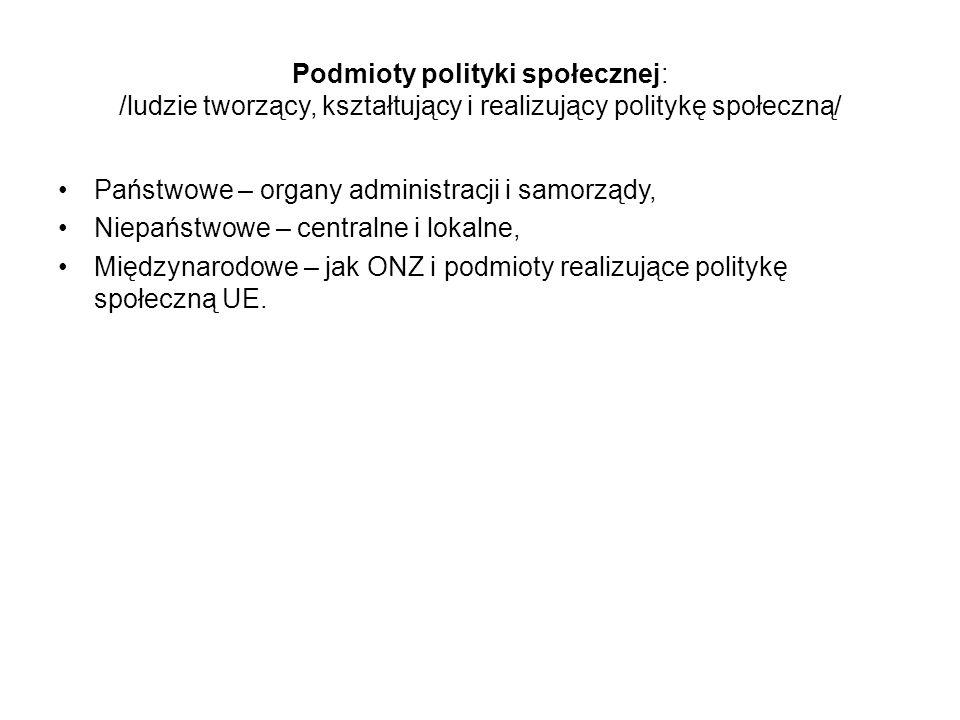 Podmioty polityki społecznej: /ludzie tworzący, kształtujący i realizujący politykę społeczną/