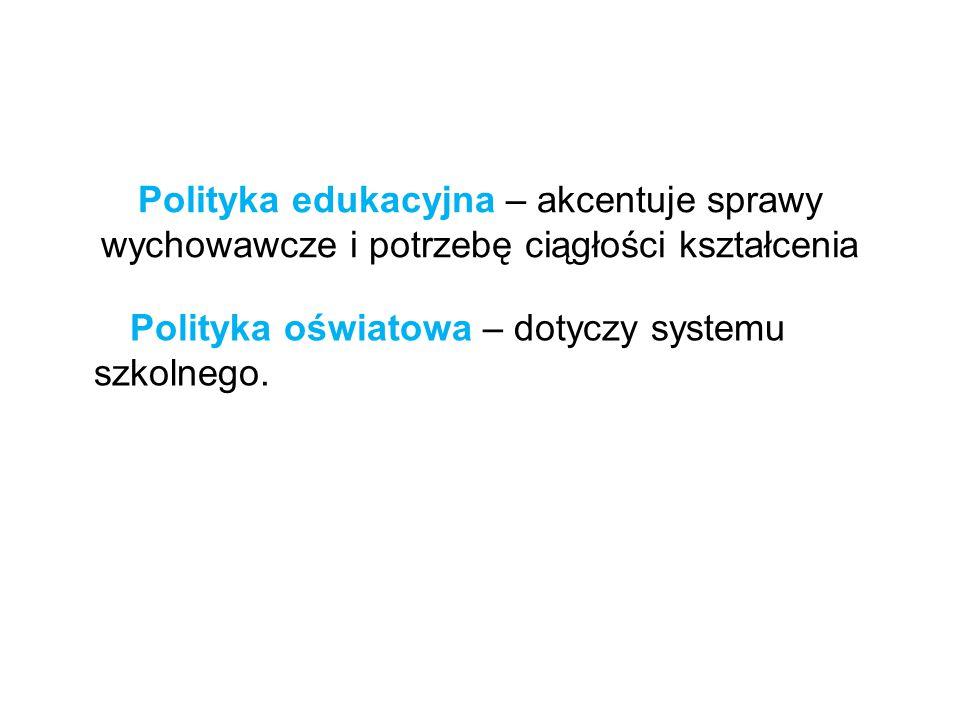 Polityka edukacyjna – akcentuje sprawy wychowawcze i potrzebę ciągłości kształcenia