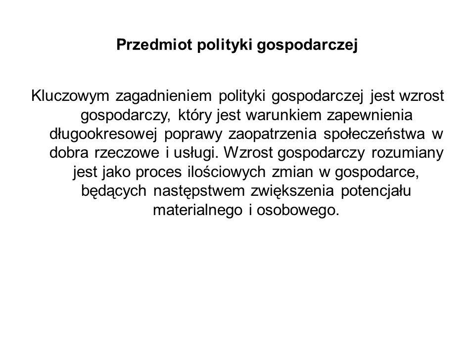 Przedmiot polityki gospodarczej
