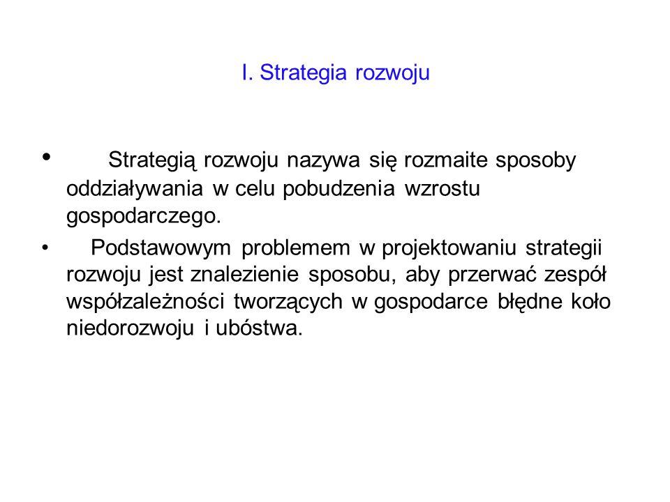I. Strategia rozwoju Strategią rozwoju nazywa się rozmaite sposoby oddziaływania w celu pobudzenia wzrostu gospodarczego.