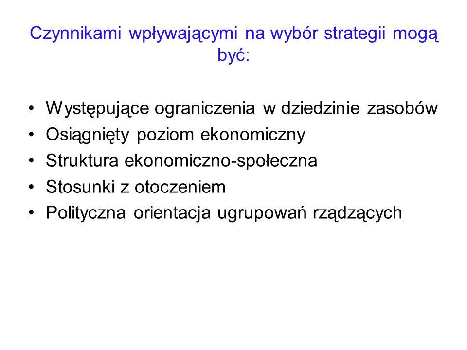 Czynnikami wpływającymi na wybór strategii mogą być: